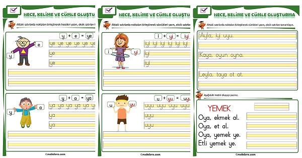 1.Sınıf İlk Okuma Y Sesi Birleştirme Etkinliği