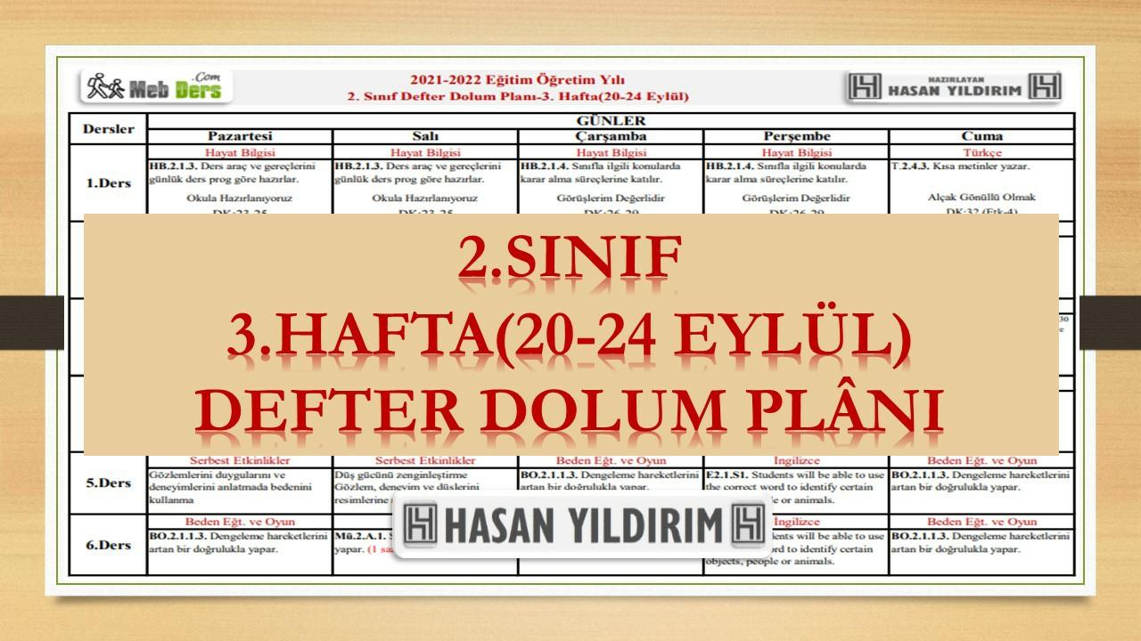 2.Sınıf 3.Hafta(20-24 Eylül) Defter Dolum Planı