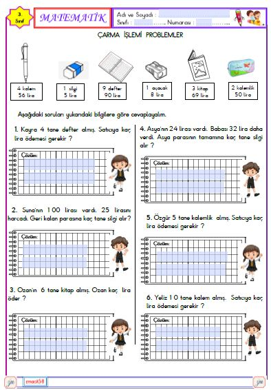 3.Sınıf Matematik Bölme İşlemi Problemler 6