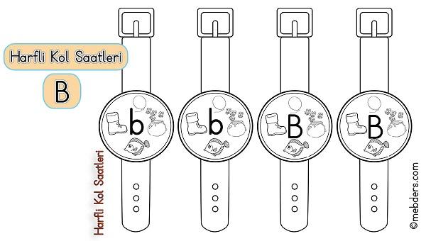 1.Sınıf İlkokuma Harfli Kol Saatleri - B Harfi