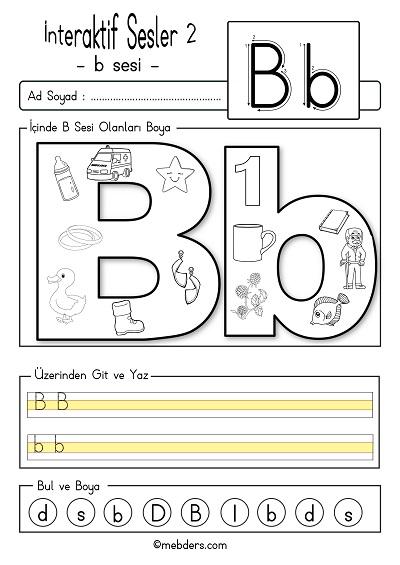 1.Sınıf İlk Okuma İnteraktif b sesi etkinliği 2