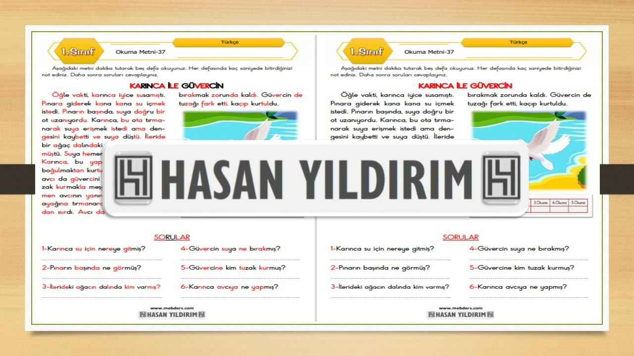 1.Sınıf Türkçe Okuma Metni-37 (Karınca ile Güvercin)
