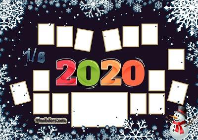 1B Sınıfı için 2020 Yeni Yıl Temalı Fotoğraflı Afiş (15 öğrencilik)