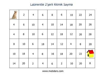 Labirentte 2'şerli Ritmik Sayma