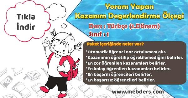 2020-2021 - 1.Sınıf Türkçe 1.Dönem Yorum Yapan Kazanım Değerlendirme Ölçeği
