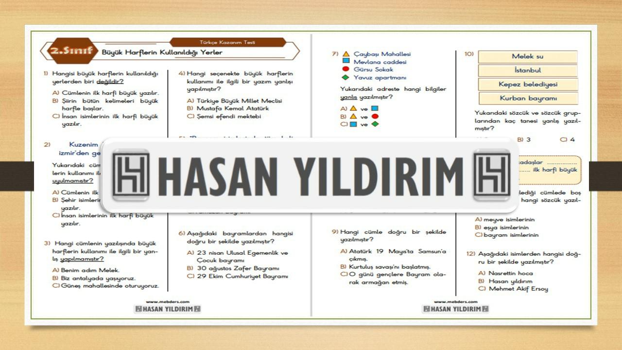2.Sınıf Türkçe Büyük harflerin Kullanıldığı Yerler Testi