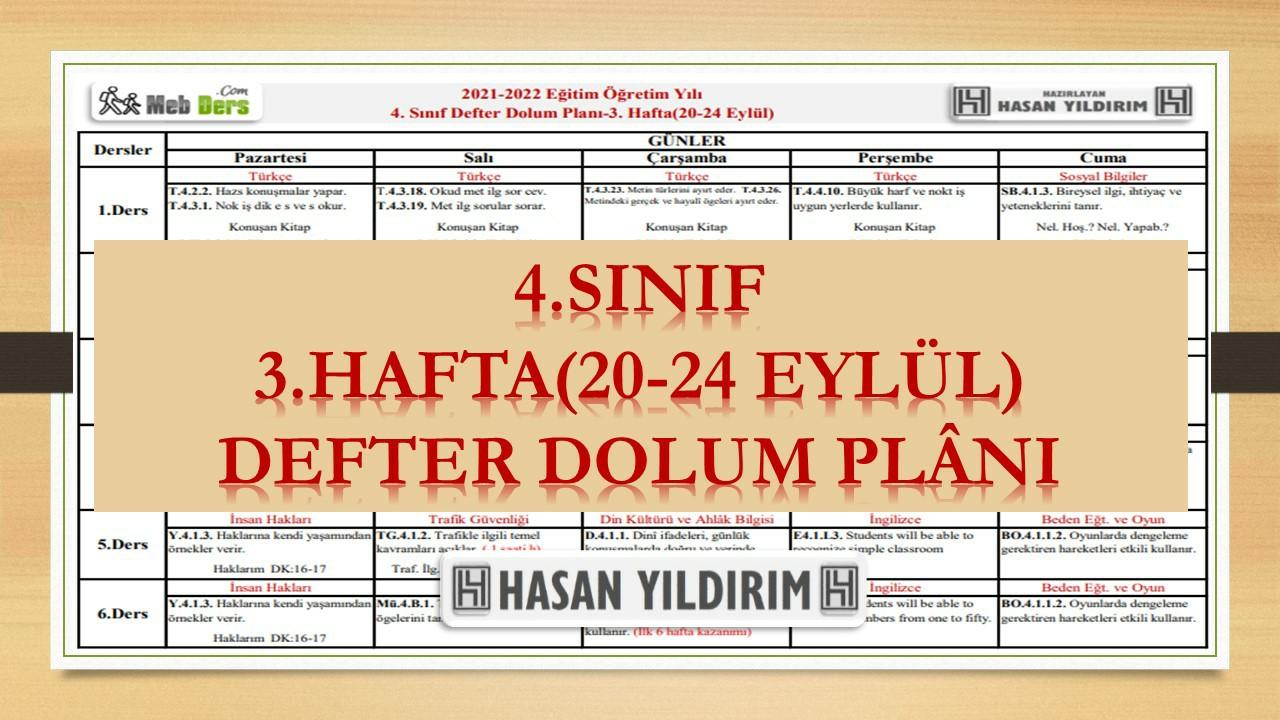 4.Sınıf 3.Hafta(20-24 Eylül) Defter Dolum Planı
