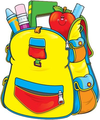 Ders araç gereçli okul çantası png