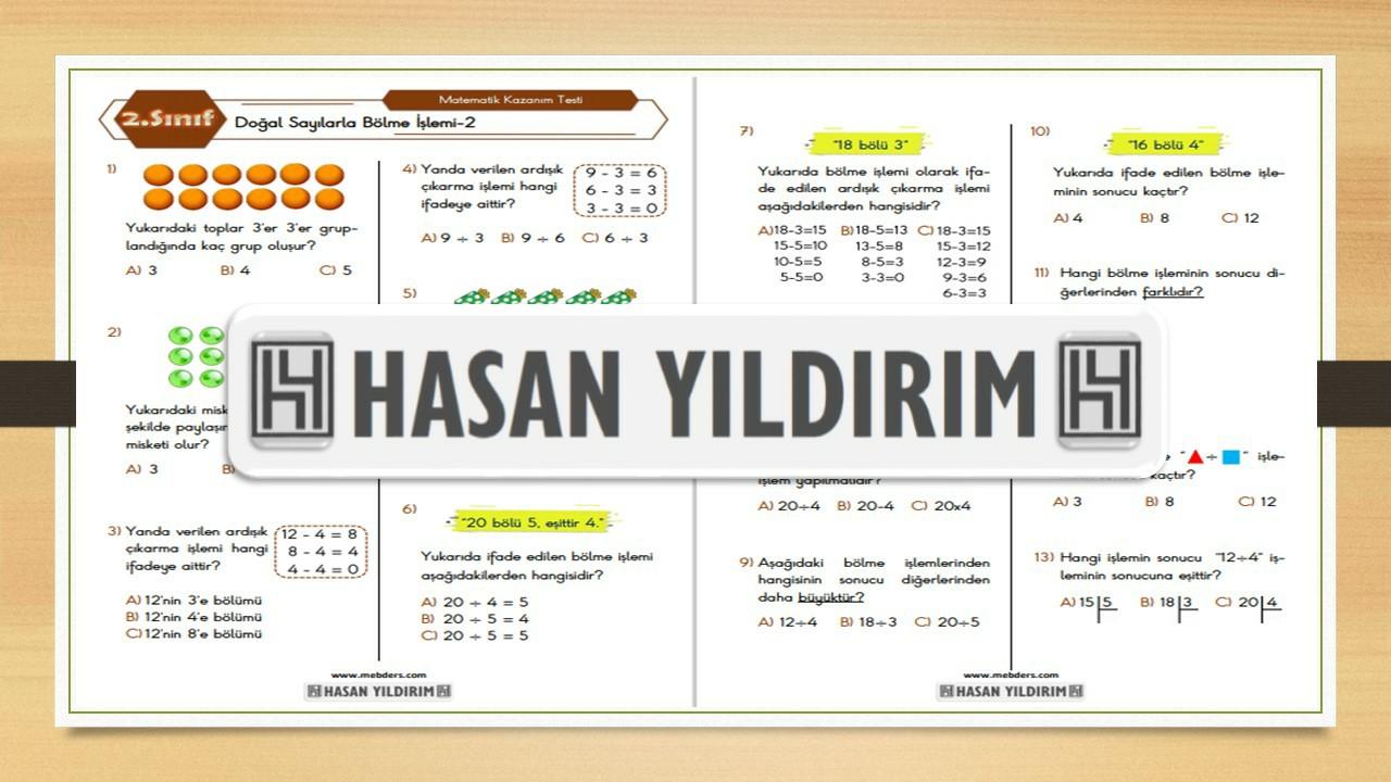 2.Sınıf Matematik Doğal Sayılarla Bölme İşlemi Testi-2