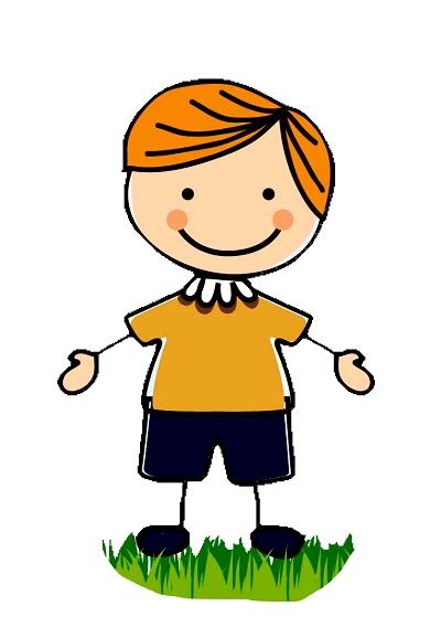 Clipart düz saçlı kollarını açmış erkek çocuk