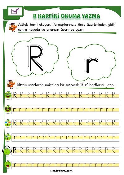 1.Sınıf İlkokuma R Sesi Okuma Yazma Etkinliği