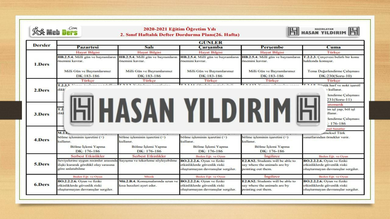 2.Sınıf 26.Hafta(12-16 Nisan) Defter Dolum Planı