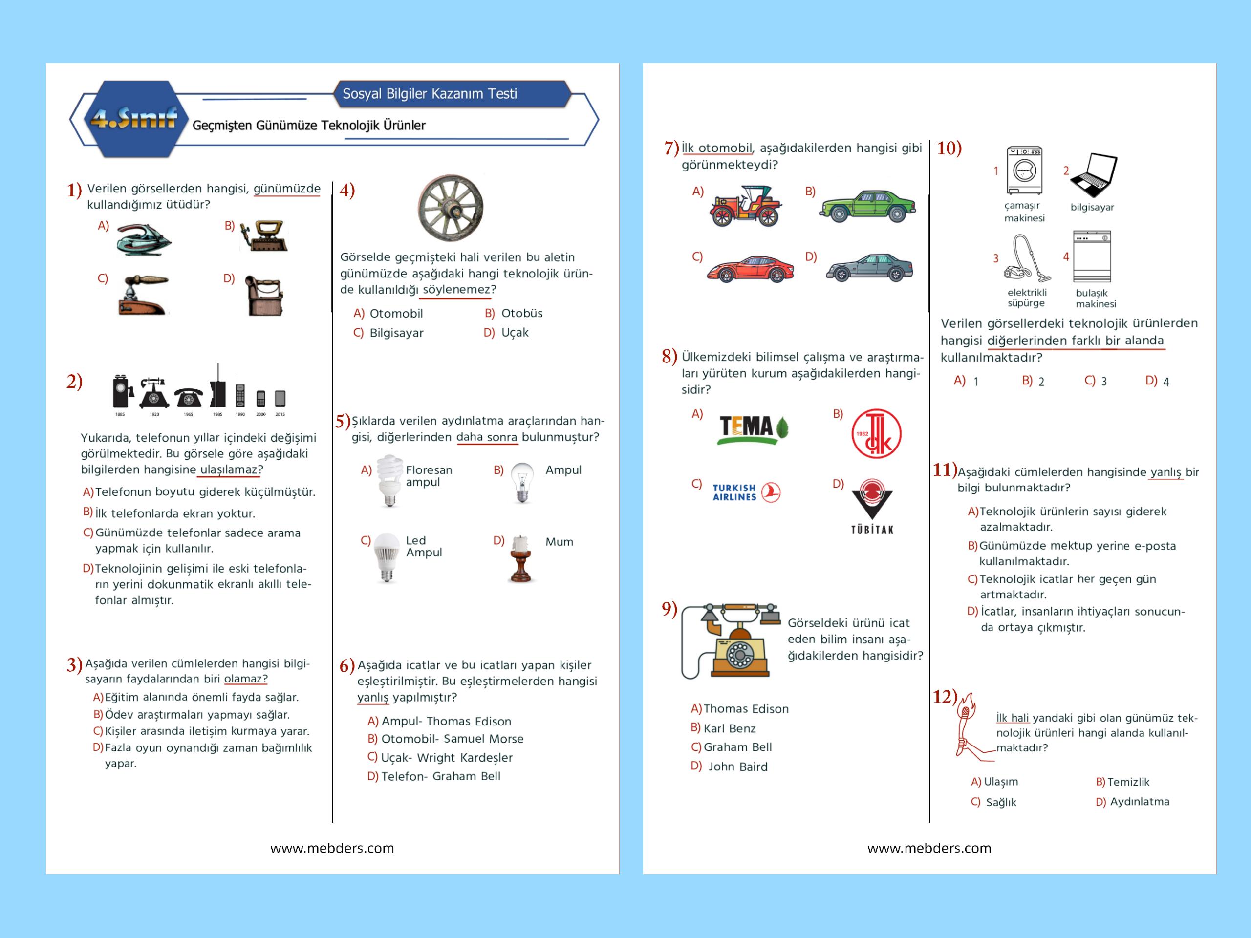 4. Sınıf Sosyal Bilgiler Geçmişten Günümüze Teknolojik Ürünler Kazanım Testi
