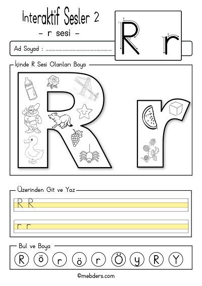 1.Sınıf İlk Okuma İnteraktif r sesi etkinliği 2
