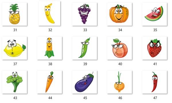 50 adet png sevimli meyve sebze resimleri