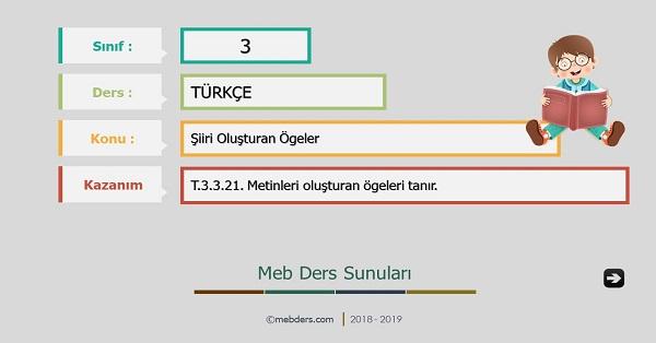3.Sınıf Türkçe Şiiri Oluşturan Ögeler Sunusu