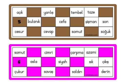 Zıt Anlamlı Sözcüklerle Tombala Oyun Kartları
