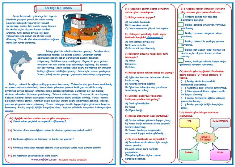 3.Sınıf Türkçe Balıkçı ile Yunus Okuma Anlama Metin Çalışması  4
