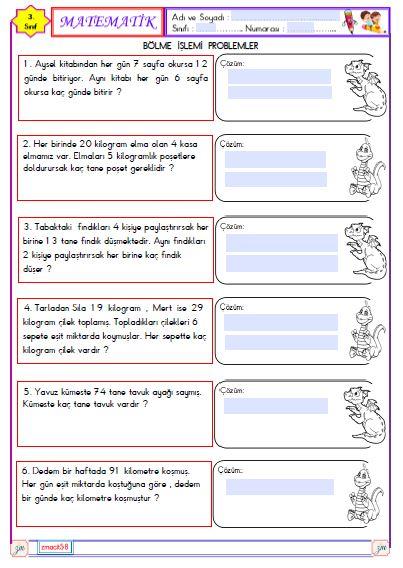 3.Sınıf Matematik Bölme İşlemi Problemler 4