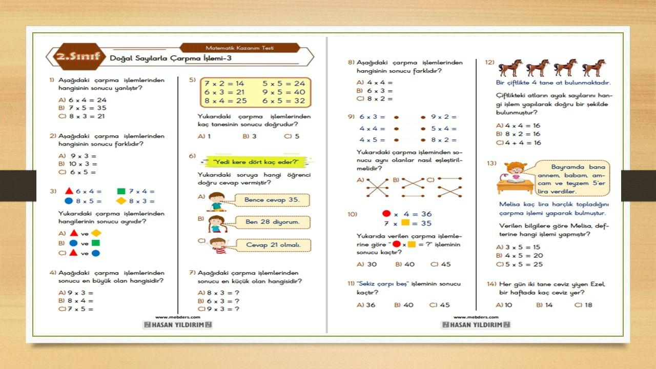 2.Sınıf Matematik Doğal Sayılarla Çarpma İşlemi Testi-3