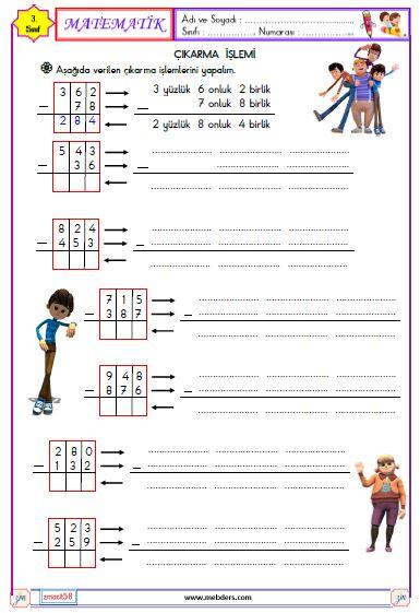 3. Sınıf Matematik Çıkarma İşlemi Etkinliği 4