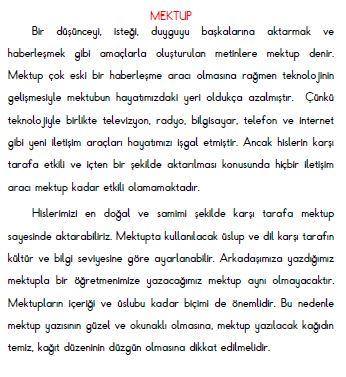 3. Sınıf Türkçe Mektup Konu Özeti