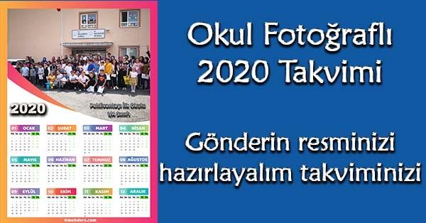 Okul fotoğraflı 2020 takvimi