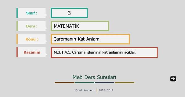 3.Sınıf Matematik Çarpmanın Kat Anlamı Sunusu