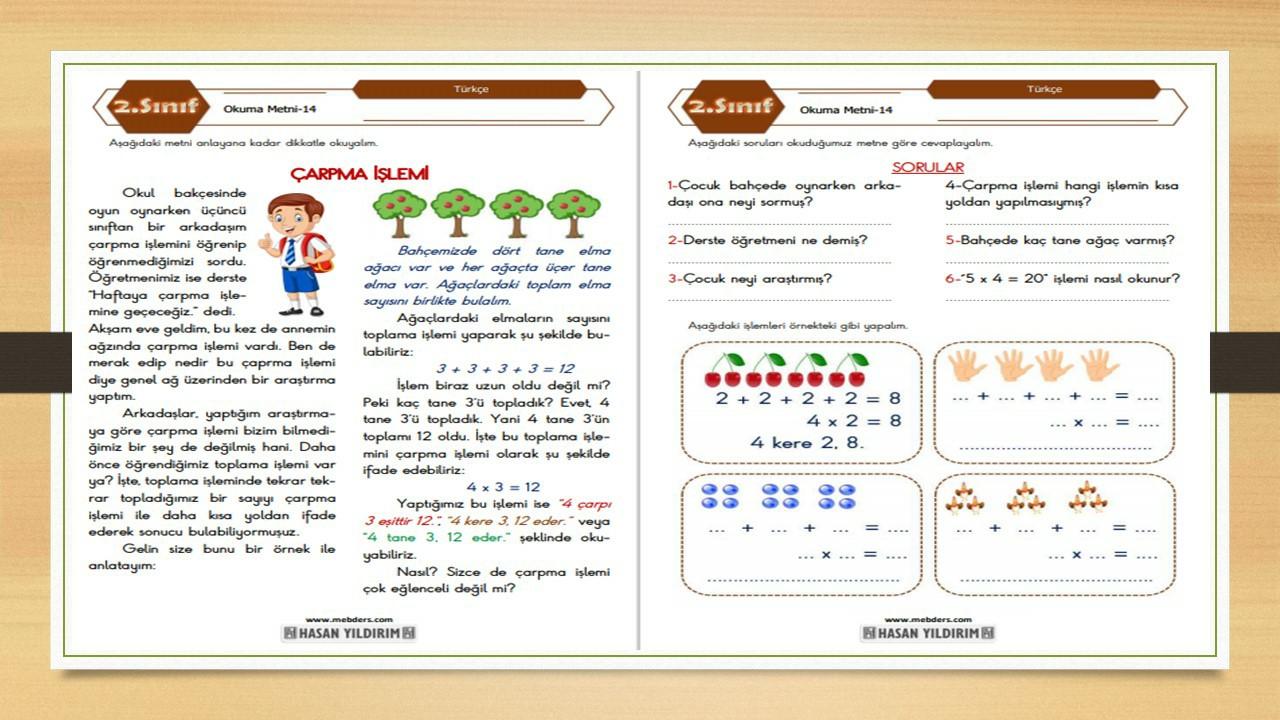 2.Sınıf Türkçe Okuma Metni-14 (Çarpma İşlemi)