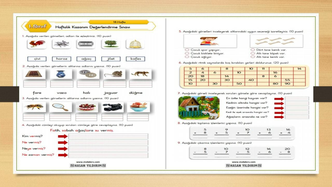 1.Sınıf Haftalık Değerlendirme Testi-18.Hafta(15-19 Şubat)