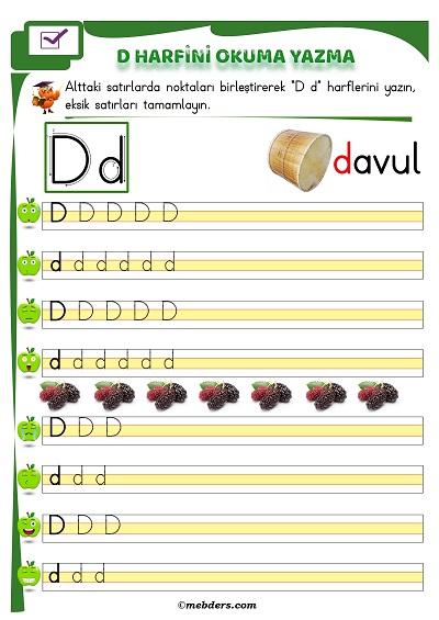 1.Sınıf İlkokuma D Sesi Okuma Yazma Etkinliği