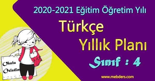 2020 - 2021 Yılı 4.Sınıf Türkçe Yıllık Planı (Koza Yayınevi)