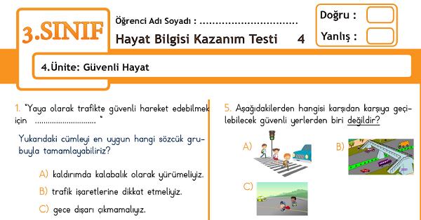 3.Sınıf Hayat Bilgisi Kazanım Testi - 4.Ünite - Güvenli Hayat