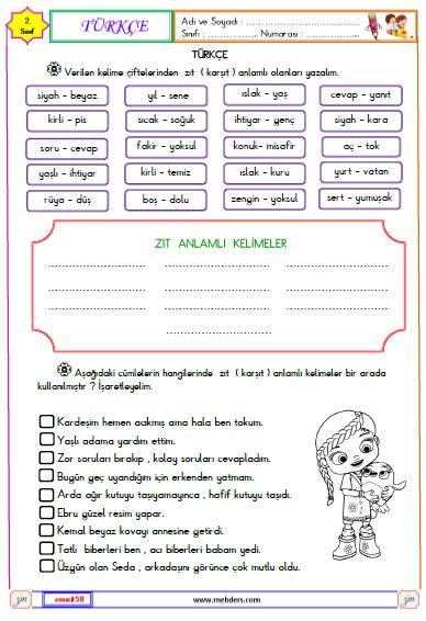 2. Sınıf Türkçe Zıt Anlamlı Kelimeler Etkinliği 1