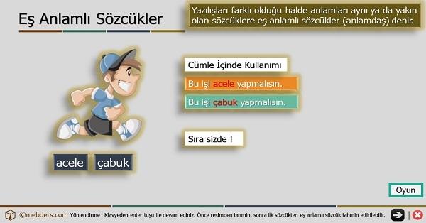 2.Sınıf Türkçe Oyunlu ve Şarkılı Eş Anlamlı Kelimeler Sunusu