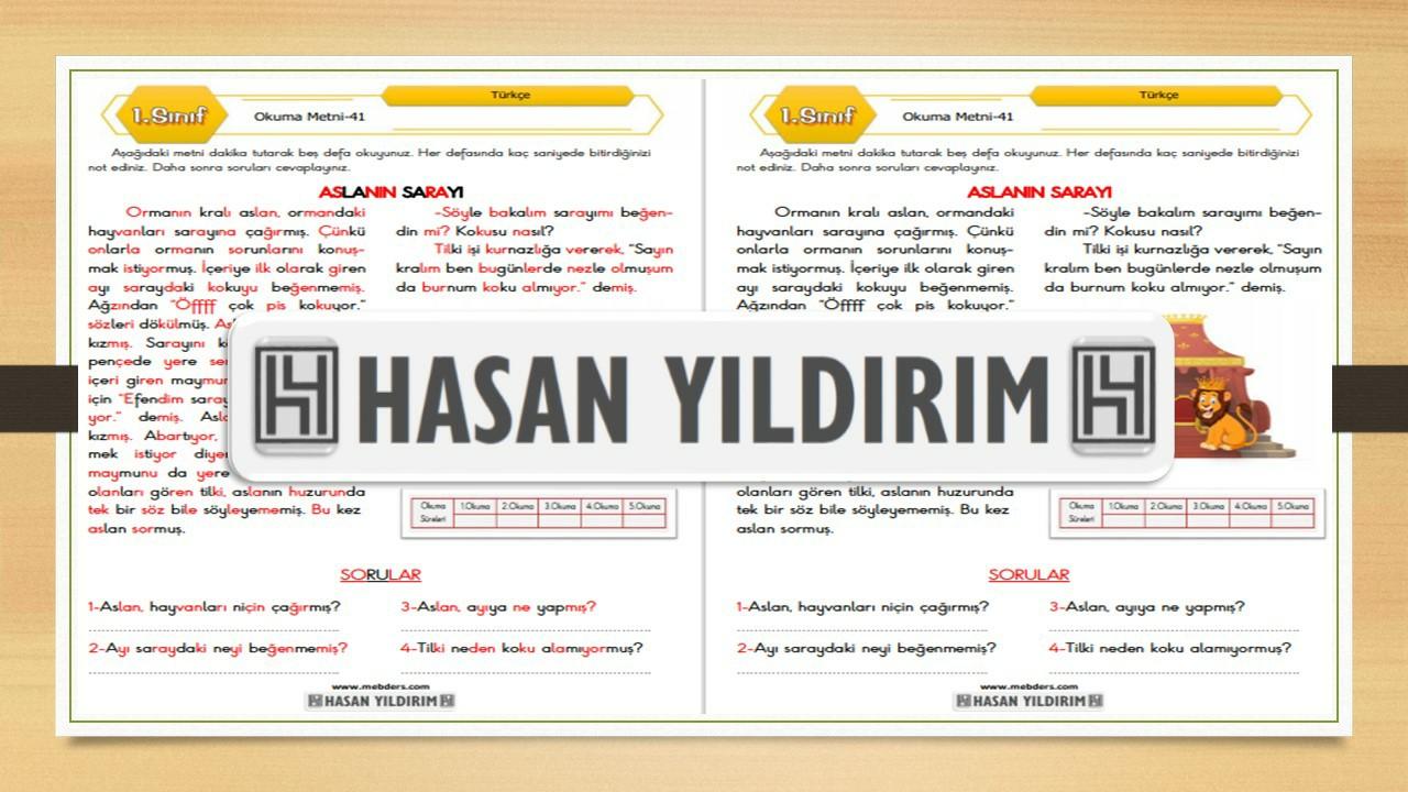 1.Sınıf Türkçe Okuma Metni-41 (Aslanın Sarayı)