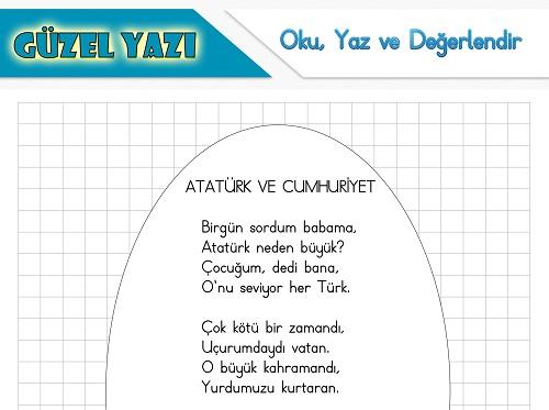 Şiir oku yaz değerlendir etkinliği - Atatürk ve Cumhuriyet