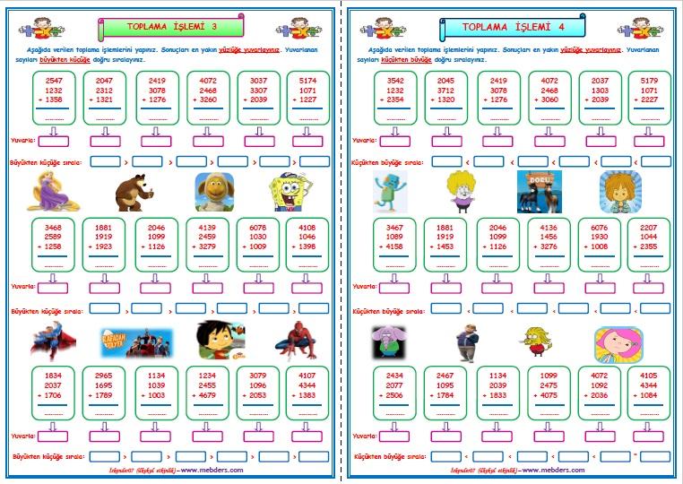 4.Sınıf Matematik Toplama İşlemi Çalışması 3-4   (2 SAYFA)