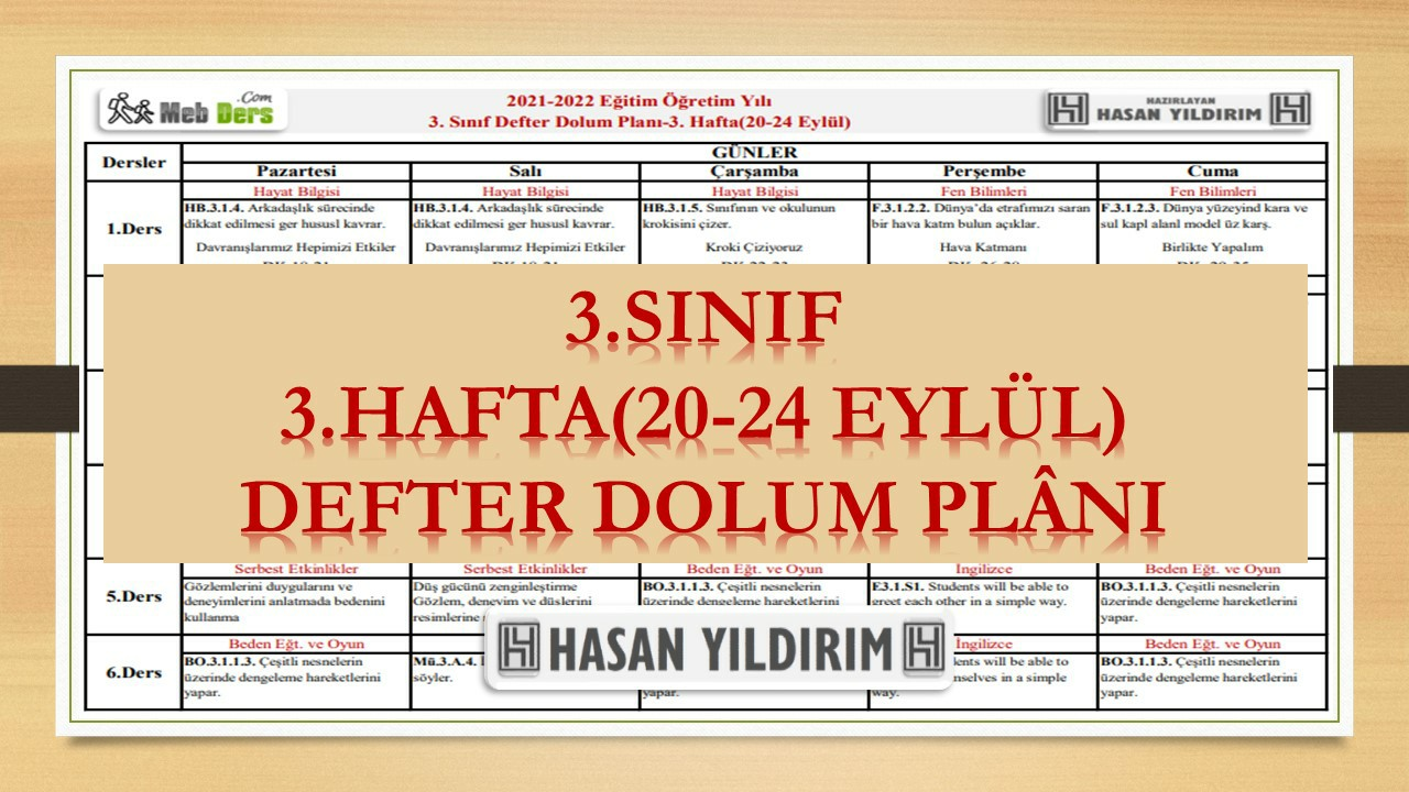 3.Sınıf 3.Hafta(20-24 Eylül) Defter Dolum Planı