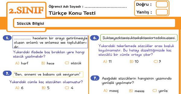 2.Sınıf Türkçe Sözcük Bilgisi Konu Tarama Testi