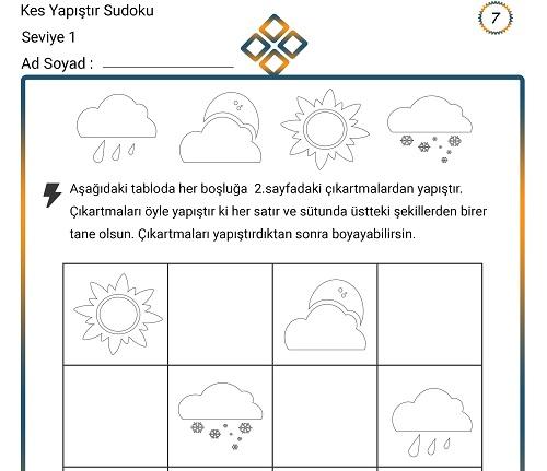 Kes Yapıştır Sudoku Etkinliği 7 (Seviye 1)