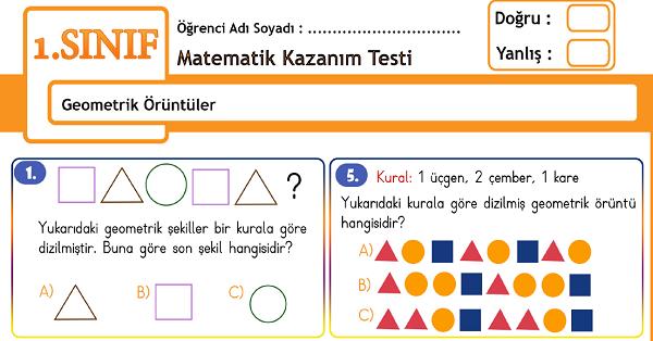 1.Sınıf Matematik Geometrik Örüntüler Kazanım Testi