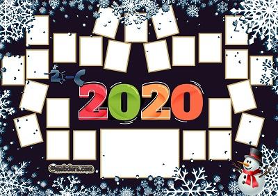 2C Sınıfı için 2020 Yeni Yıl Temalı Fotoğraflı Afiş (25 öğrencilik)