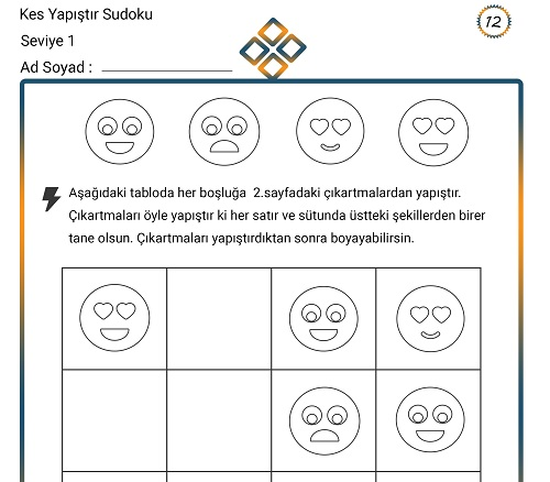 Kes Yapıştır Sudoku Etkinliği 12 (Seviye 1)