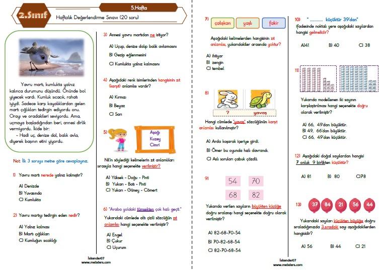 2.Sınıf Haftalık Değerlendirme Testi-5.Hafta (04-08 EKİM)
