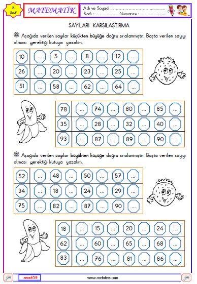 2. Sınıf Matematik Sayıları Karşılaştırma Etkinliği 4