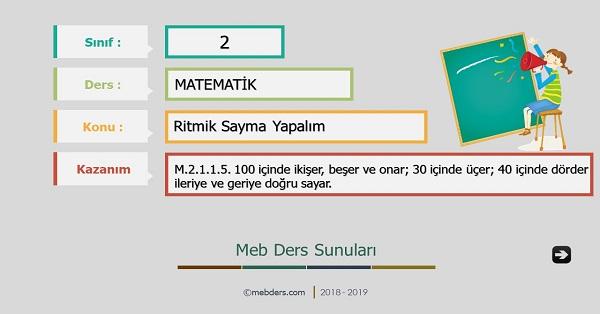 2.Sınıf Matematik Ritmik Sayma Yapalım Sunusu