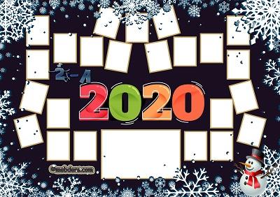 2A Sınıfı için 2020 Yeni Yıl Temalı Fotoğraflı Afiş (23 öğrencilik)
