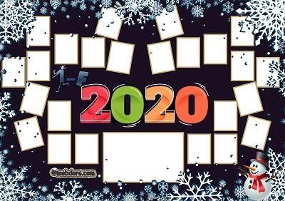 1F Sınıfı için 2020 Yeni Yıl Temalı Fotoğraflı Afiş (24 öğrencilik)