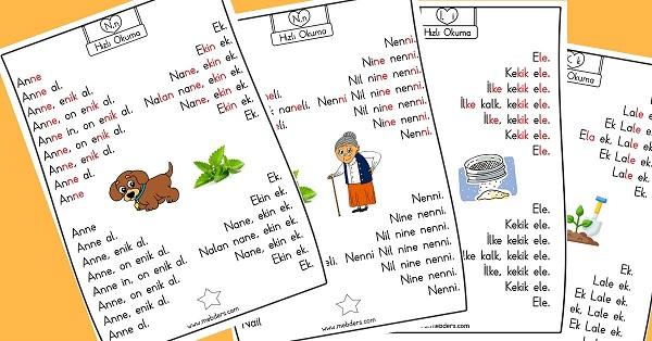 1.Sınıf İlk Okuma Karesel Metin Hızlı Okuma Etkinliği - 1.Grup Harfler